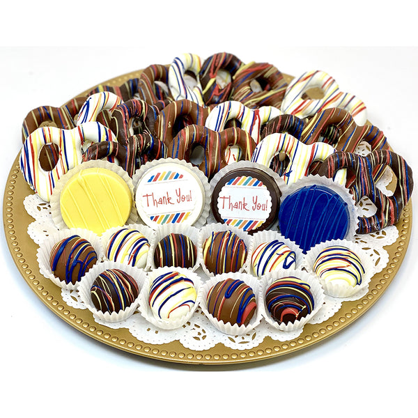 Large Thank You Mixed Chocolate Platter - The Dessert Ladies, custom corporate gifts, gourmet chocolate gifts,