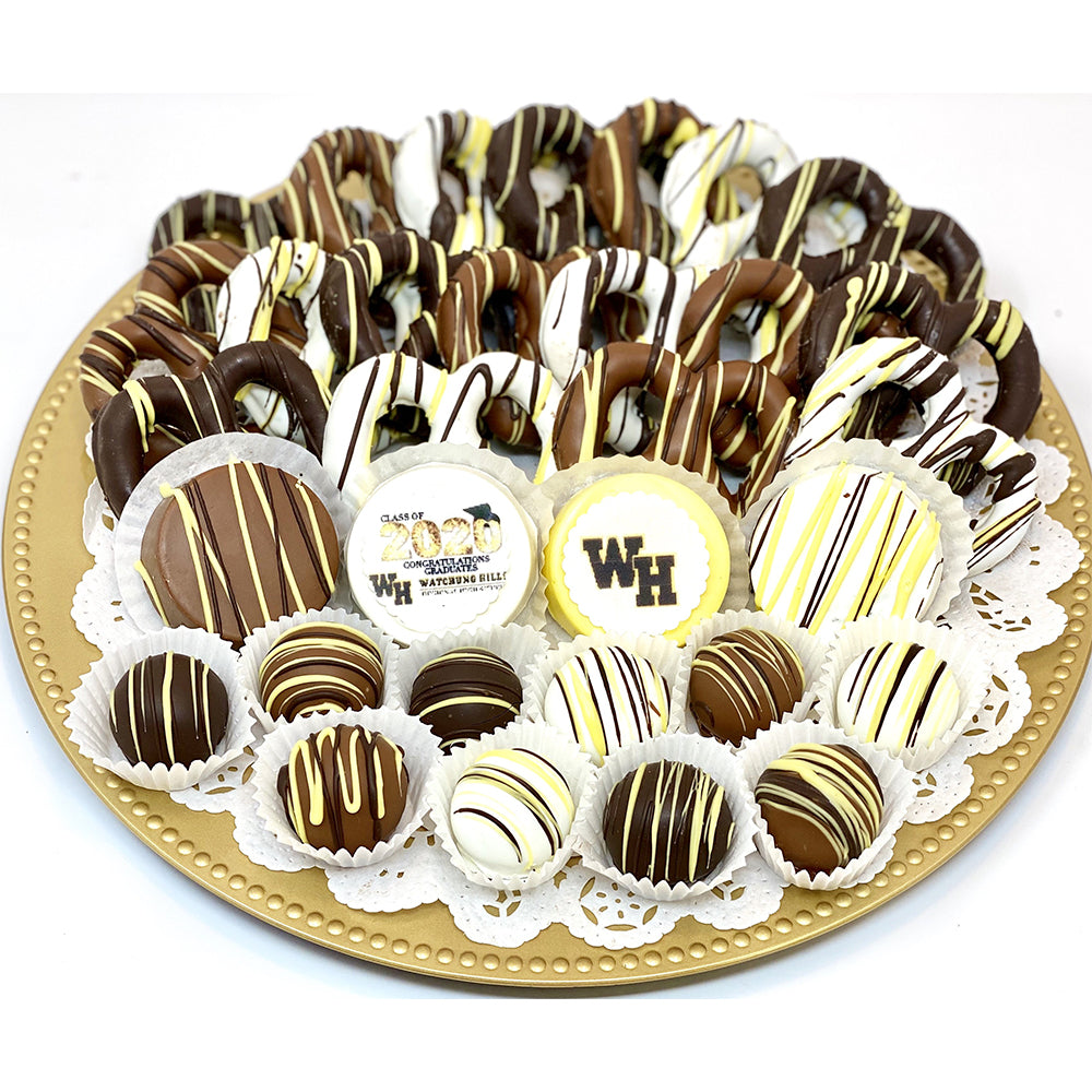 Large Graduation Mixed Chocolate Platter- Customize it! - The Dessert Ladies, custom corporate gifts, gourmet chocolate gifts,
