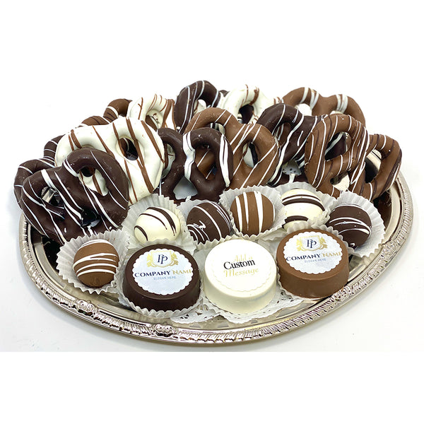 Medium Mixed Chocolate Platter - Custom Corporate Gift - The Dessert Ladies, custom corporate gifts, gourmet chocolate gifts,
