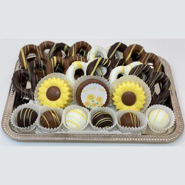 Medium Get Well Soon Platter - The Dessert Ladies, custom corporate gifts, gourmet chocolate gifts,