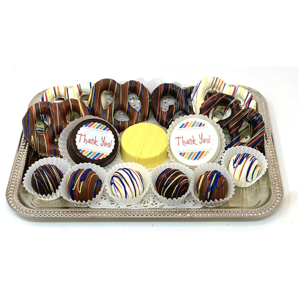 Classic Thank You Mixed Chocolate Platter - The Dessert Ladies, custom corporate gifts, gourmet chocolate gifts,