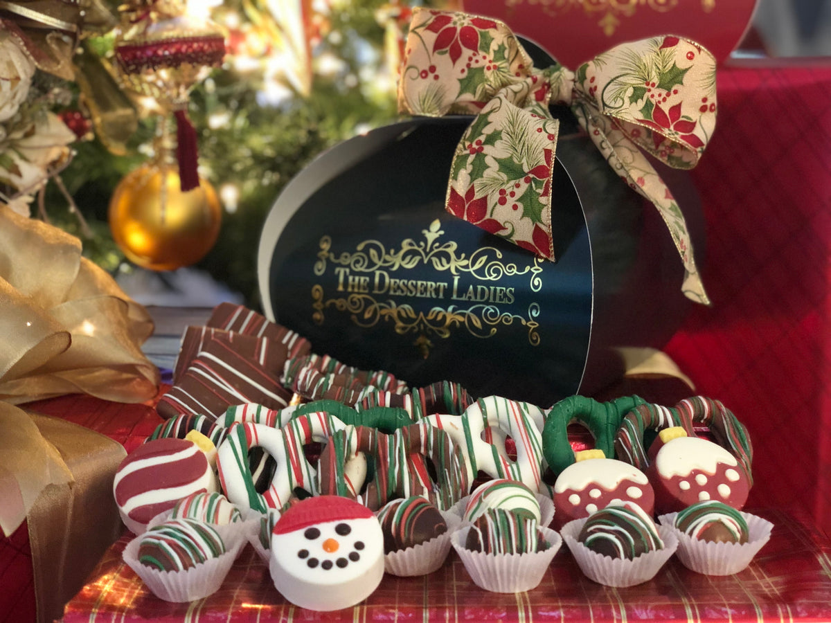 Holiday Dessert Bar Mixed Chocolate Box - The Dessert Ladies, custom corporate gifts, gourmet chocolate gifts,