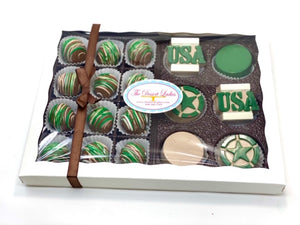 Camo Army Mixed Gift Box - The Dessert Ladies, custom corporate gifts, gourmet chocolate gifts,
