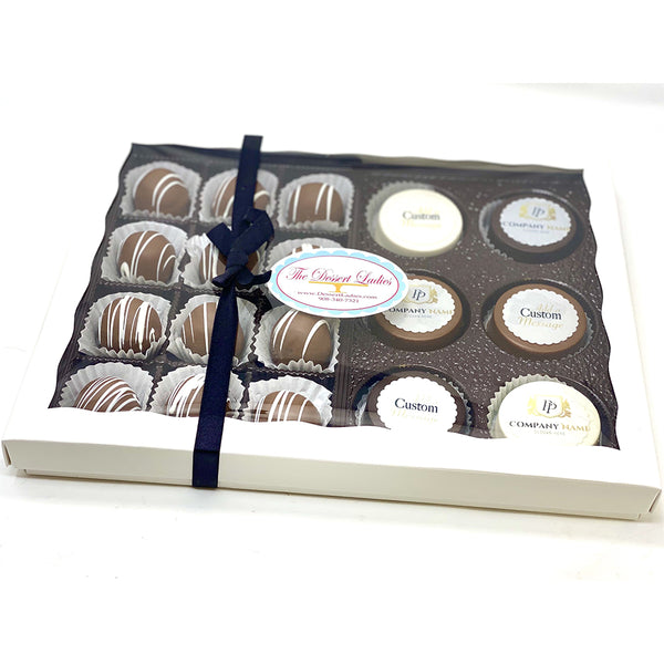 Custom Corporate Mixed Gift Box - The Dessert Ladies, custom corporate gifts, gourmet chocolate gifts,
