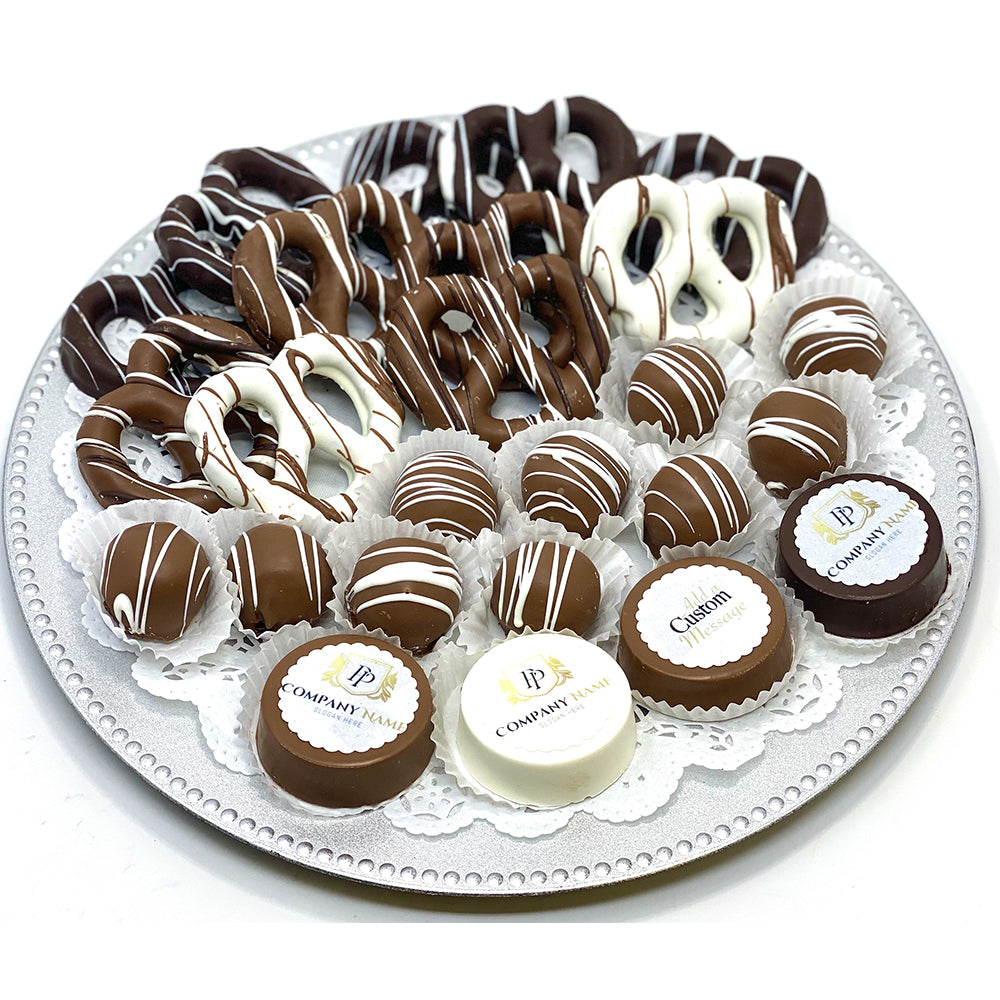 Large Custom Mixed Chocolate Platter- Custom Corporate Gift - The Dessert Ladies