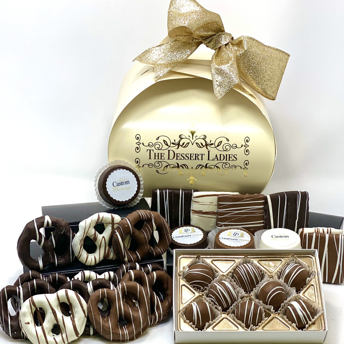 Custom Corporate Tulip Mixed Chocolate Box - The Dessert Ladies, custom corporate gifts, gourmet chocolate gifts,