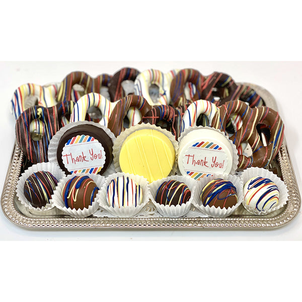 Medium Thank You Mixed Chocolate Platter - The Dessert Ladies, custom corporate gifts, gourmet chocolate gifts,