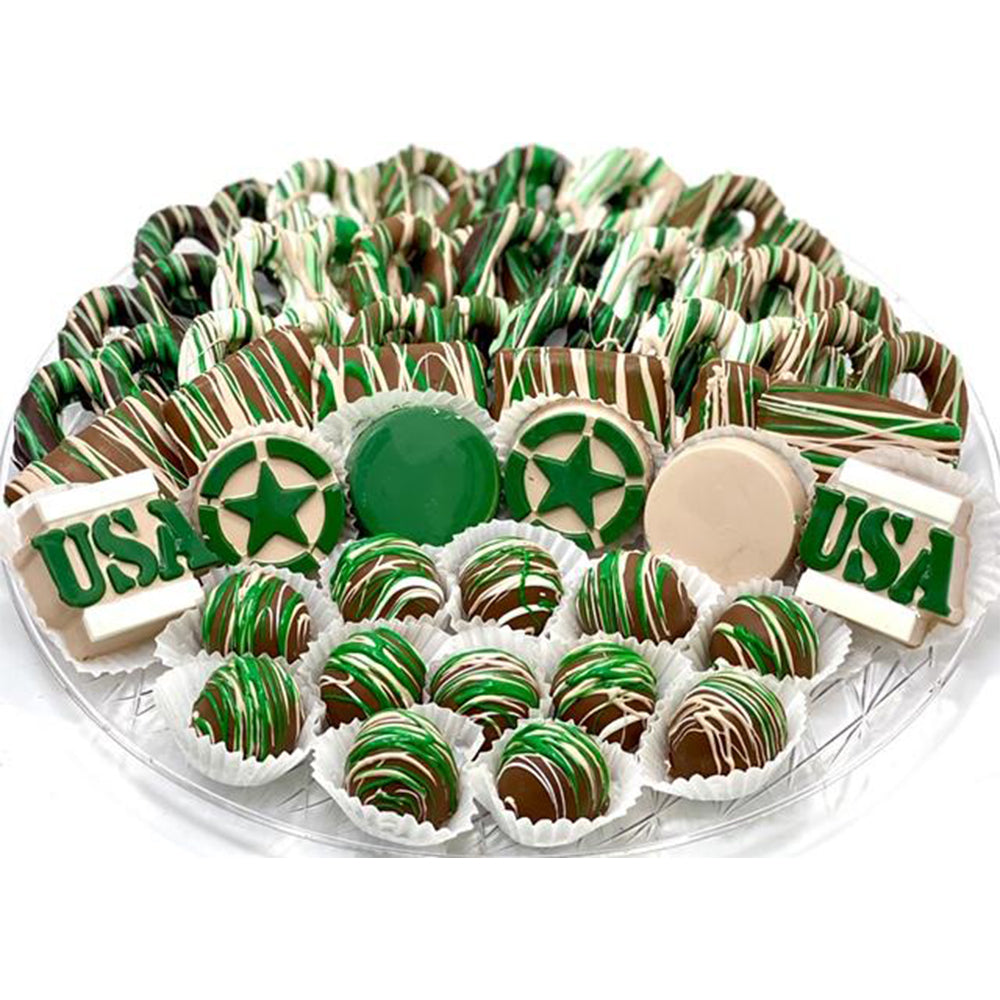 VIP Camo Army Platter - The Dessert Ladies, custom corporate gifts, gourmet chocolate gifts,