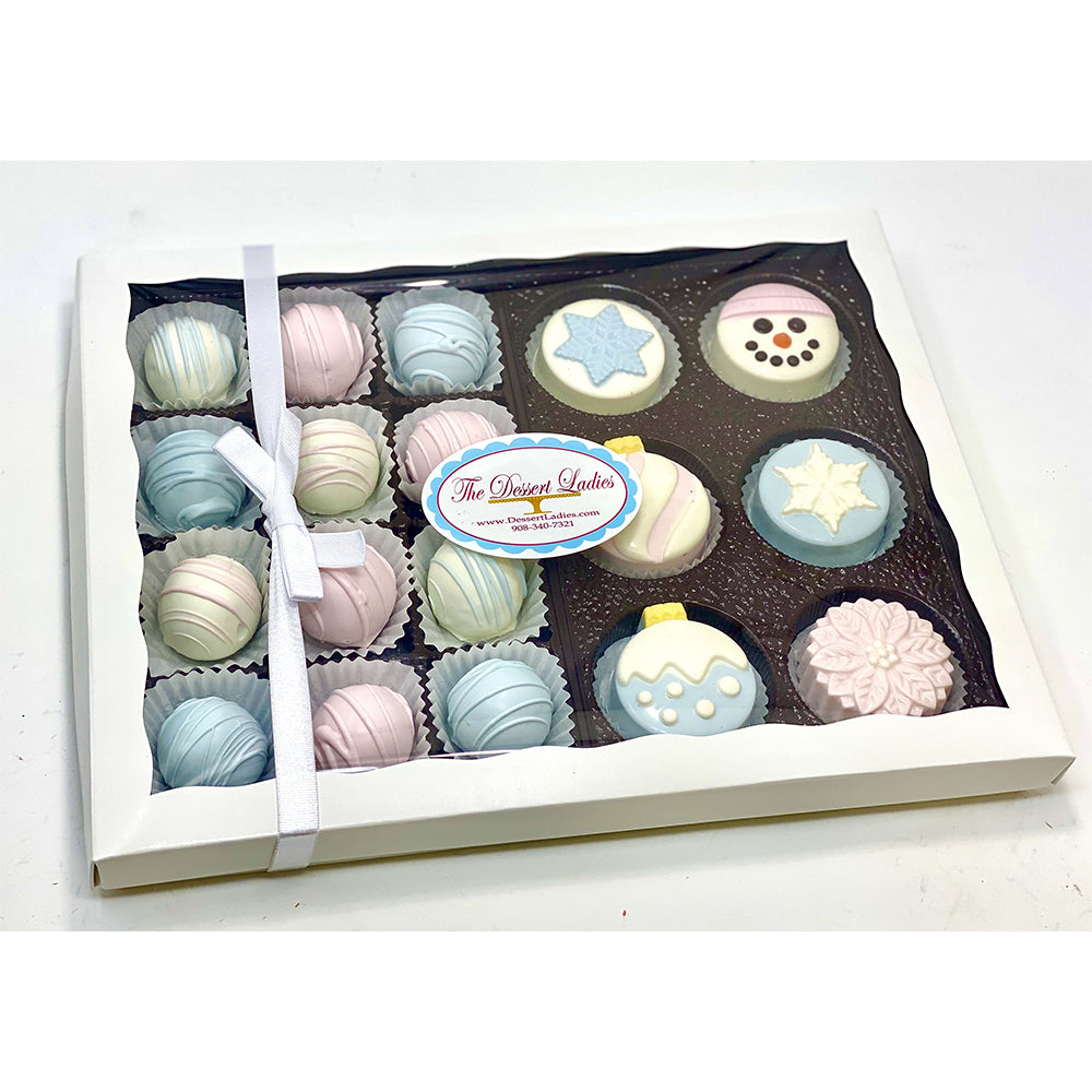 Sugar Plum Christmas Mixed Gift Box - The Dessert Ladies, custom corporate gifts, gourmet chocolate gifts,
