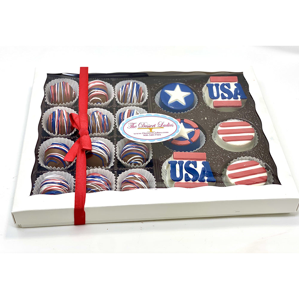 Patriotic Mixed Gift Box - The Dessert Ladies, custom corporate gifts, gourmet chocolate gifts,