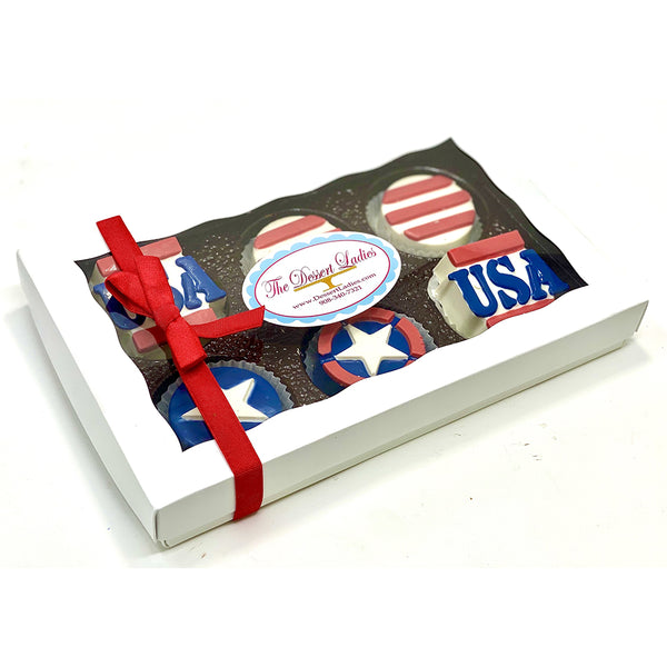 Patriotic Chocolate Covered Oreos - The Dessert Ladies, custom corporate gifts, gourmet chocolate gifts,