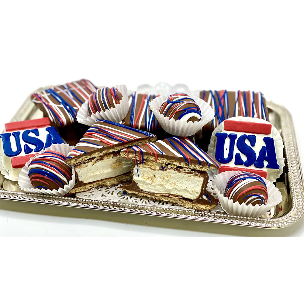 Patriotic Party Platter - The Dessert Ladies, custom corporate gifts, gourmet chocolate gifts,