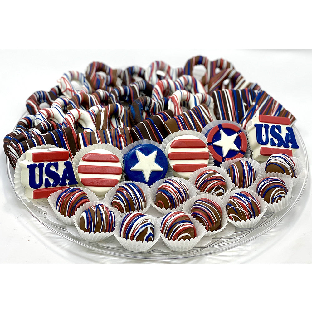 VIP Patriotic Platter - The Dessert Ladies, custom corporate gifts, gourmet chocolate gifts,