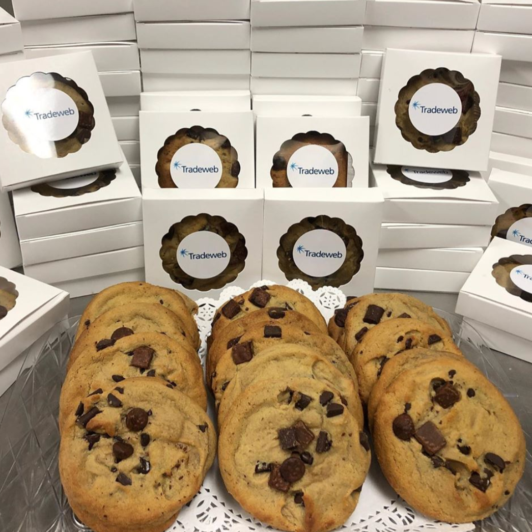 One Doz. Jumbo Chocolate Chip Cookie Favors - The Dessert Ladies, custom corporate gifts, gourmet chocolate gifts,