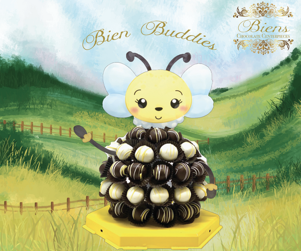 Bizzy Bee- The Biens Chocolate Centerpiece - The Dessert Ladies, custom corporate gifts, gourmet chocolate gifts,