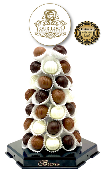 Corporate Bien Tower- Onyx - The Dessert Ladies, custom corporate gifts, gourmet chocolate gifts,