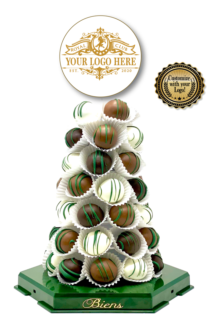 Corporate Bien Tower- Powerscourt Green - The Dessert Ladies, custom corporate gifts, gourmet chocolate gifts,