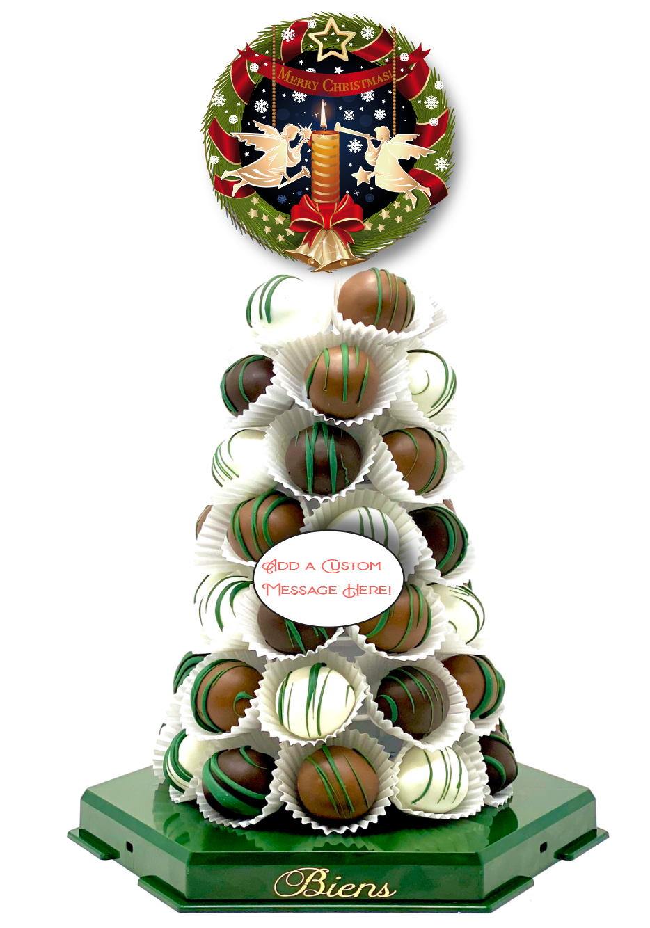 Christmas Bien Tower- Powerscourt Green - The Dessert Ladies, custom corporate gifts, gourmet chocolate gifts,