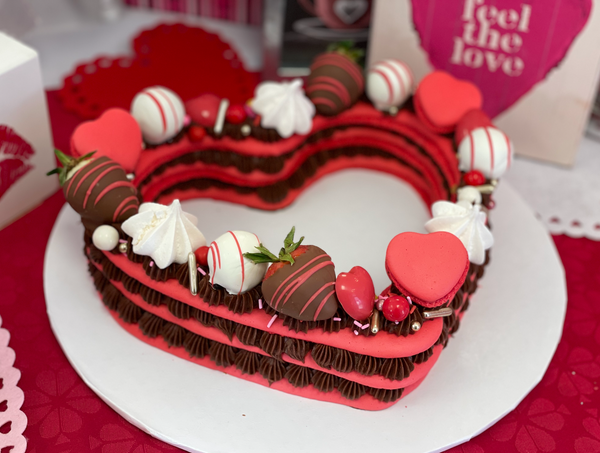 French Macaroon Heart Cake