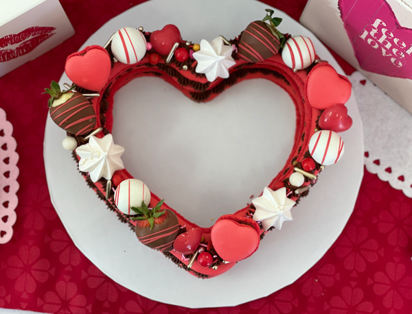 French Macaroon Heart Cake - The Dessert Ladies