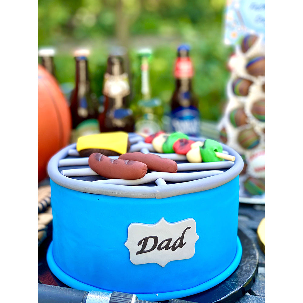 Father's Day BBQ Grill Cake- All Fondant - The Dessert Ladies, custom corporate gifts, gourmet chocolate gifts,