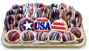 Medium Patriotic Platter - The Dessert Ladies, custom corporate gifts, gourmet chocolate gifts,