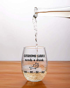 Grandma Shark Wine Glass
