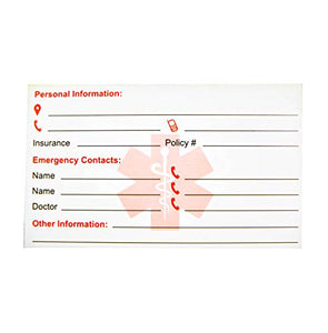 Emergency Info Cards pack of 5