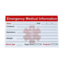 Load image into Gallery viewer, Emergency Info Cards pack of 5