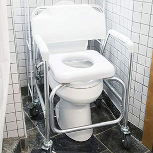 Rolling Shower and Commode Transport Padded Chair with Wheels