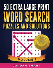 Load image into Gallery viewer, 50 Extra Large Print Word Search Puzzles and Solutions