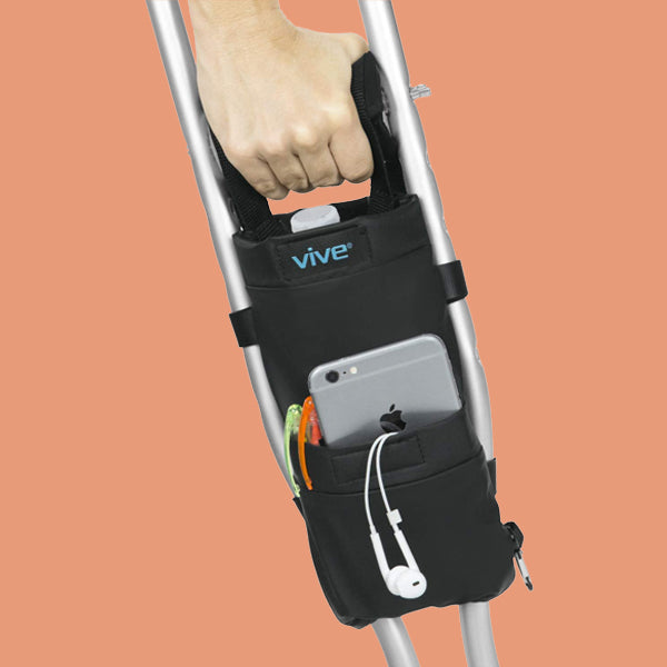 Vive Crutch Pouch with Foam Hand Grip Pads