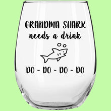 Load image into Gallery viewer, Grandma Shark Wine Glass