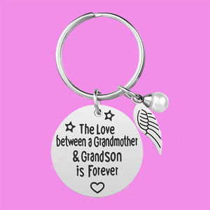 Stainless Steel Grandmother Grandson Keychain