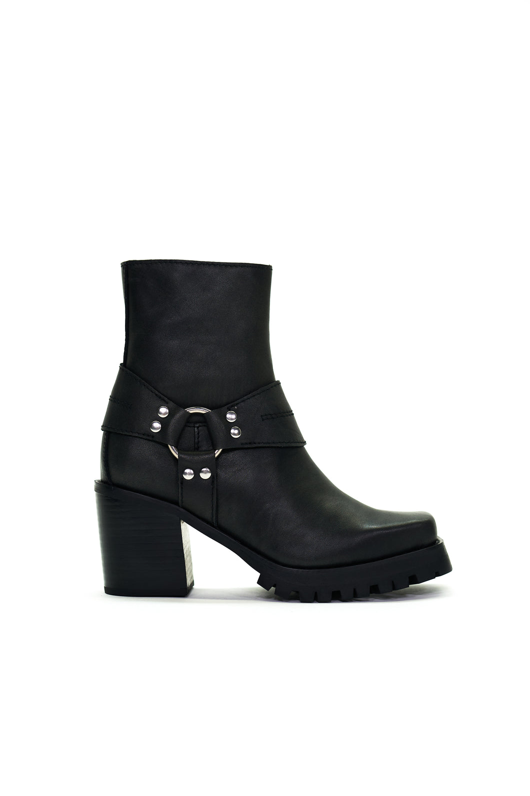 Biker Boot, Ankle Boots, Schwarze Stiefel, Harness, Fashion Boot, Blockabsatz von Jeffrey Campbell