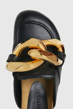 Load image into Gallery viewer, Black leather chain loafers