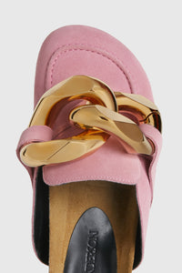 Pink suede chain loafers