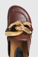 Load image into Gallery viewer, Brown leather chain loafers