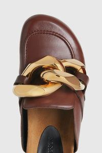 Brown leather chain loafers