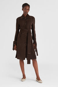 Wrap sleeve suede trench coat