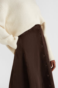 Dark brown suede midi skirt