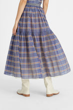 Load image into Gallery viewer, Blue Roulette tiered prairie skirt