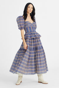 Blue Roulette tiered prairie skirt