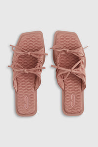 Pink eco-satin tie sandals