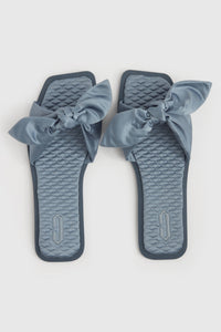 Grey eco-satin bow sandals
