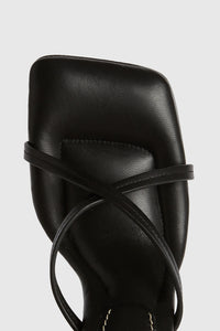 Black 90 leather square strappy sandals