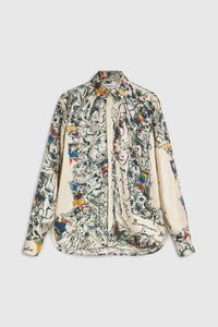 Monster print silk shirt
