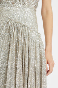 Sequin-embellished midi skirt