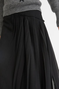 Gathered front midi skirt