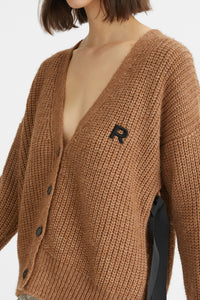 Alpaca cardigan with ribbon
